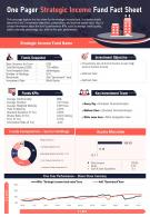 One Pager Strategic Income Fund Fact Sheet Presentation Report Infographic PPT PDF Document