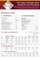 One Pager Strategic Value Dividend Fund Fact Sheet Presentation Report Infographic PPT PDF Document