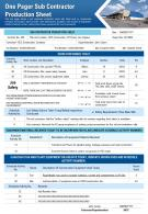One Pager Sub Contractor Production Sheet Presentation Report Infographic PPT PDF Document