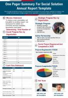One Pager Summary For Social Solution Annual Report Template Presentation Report Infographic PPT PDF Document