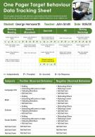 One Pager Target Behaviour Data Tracking Sheet Presentation Report Infographic PPT PDF Document