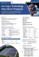One Pager Technology Data Sheet Template Presentation Report Infographic PPT PDF Document