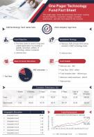 One Pager Technology Fund Fact Sheet Presentation Report Infographic PPT PDF Document