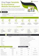 One Pager Template For Ecommerce Website Development Presentation Report Infographic PPT PDF Document