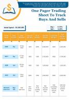 One Pager Trading Sheet To Track Buys And Sells Presentation Report Infographic Ppt Pdf Document