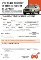 One Pager Transfer Of Title Document To Car Sale Presentation Report Infographic Ppt Pdf Document