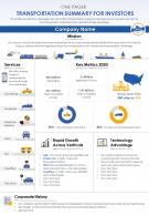 One Page Transportation Summary For Investors Document PPT PDF Doc Printable