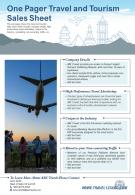 One Pager Travel And Tourism Sales Sheet Presentation Report Infographic Ppt Pdf Document