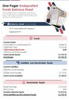 One Pager Undeposited Funds Balance Sheet Presentation Report Infographic PPT PDF Document