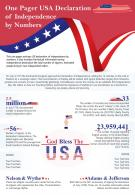 One Pager USA Declaration Of Independence By Numbers Presentation Report Infographic PPT PDF Document