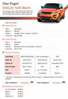 One Pager Vehicle Sell Sheet Presentation Report Infographic PPT PDF Document