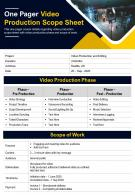 One Pager Video Production Scope Sheet Presentation Report Infographic PPT PDF Document