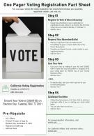One Pager Voting Registration Fact Sheet Presentation Report Infographic PPT PDF Document