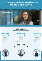 One Pager Website Template For Digital Media Startup Presentation Report Infographic PPT PDF Document