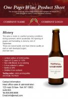 One Pager Wine Product Sheet Presentation Report Infographic PPT PDF Document
