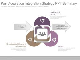 One Post Acquisition Integration Strategy Ppt Summary