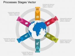 one Six Staged Global Business Process Indication Diagram Flat Powerpoint Design