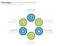 one Six Staged Hexagons And Icons Marketing Strategy Flat Powerpoint Design