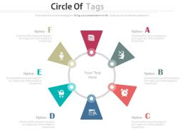 one Six Staged Tags Circle For Business Communication Flat Powerpoint Design