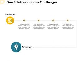 One Solution To Many Challenges Idea Bulb Ppt Powerpoint Presentation Pictures Clipart