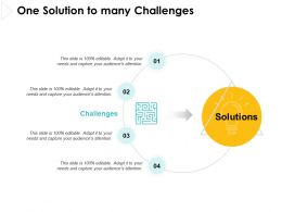 One Solution To Many Challenges Process Ppt Powerpoint Presentation File Rules
