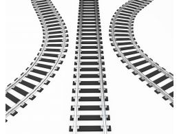 One Straight And Two Twisted Tracks Stock Photo