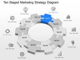 one Ten Staged Marketing Strategy Diagram Powerpoint Template