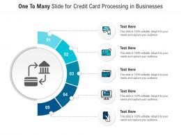 One To Many Slide For Credit Card Processing In Businesses Infographic Template