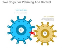 one Two Cogs For Planning And Control Flat Powerpoint Design