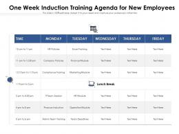 One Week Induction Training Agenda For New Employees