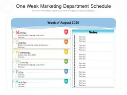One Week Marketing Department Schedule