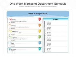 One Week Marketing Department Schedule