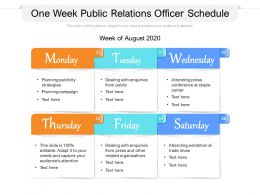 One Week Public Relations Officer Schedule