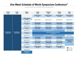 One Week Schedule Of World Symposium Conference