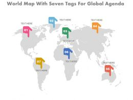 one World Map With Seven Tags For Global Agenda Flat Powerpoint Design