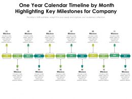 One Year Calendar Timeline By Month Highlighting Key Milestones For Company