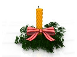 One Yellow Decorative Candle On Christmas Tree Stock Photo