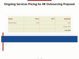 Ongoing Services Pricing For HR Outsourcing Proposal Ppt Powerpoint Presentation Ideas