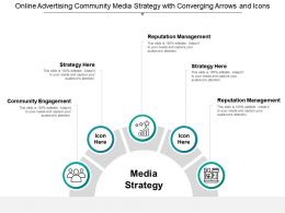 Online Advertising Community Media Strategy With Converging Arrows And Icons