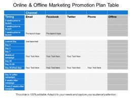 Online And Offline Marketing Promotion Plan Table
