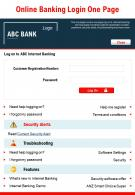 Online Banking Login One Page Presentation Report Infographic PPT PDF Document