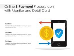 Online E Payment Process Icon With Monitor And Debit Card