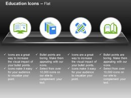 Online Education Library Open Book Two Pencils Ppt Icons Graphics