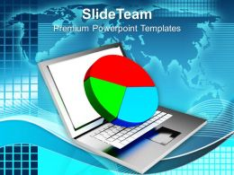 Online Finance Pie Chart On Laptop PowerPoint Templates PPT Themes And Graphics 0213