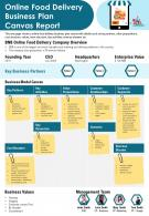 Online Food Delivery Business Plan Canvas Report Presentation Report Infographic Ppt Pdf Document