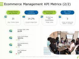 Online Goods Services Ecommerce Management KPI Metrics Average Ppt Powerpoint Mockup