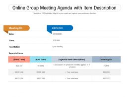 Online Group Meeting Agenda With Item Description