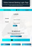 Online Internet Banking Login Page Presentation Report Infographic PPT PDF Document