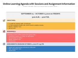 Online Learning Agenda With Sessions And Assignment Information