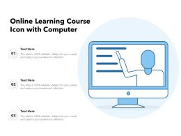 Online Learning Course Icon With Computer